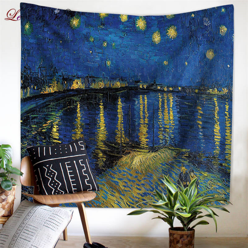 Leradore Wall Hangings Polyester Tapestry Van Gogh Home