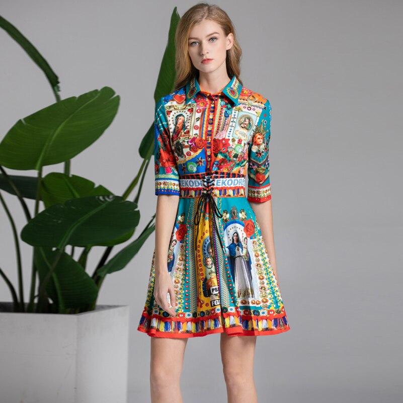 High quality 2019 designer fashion summer dress Women s Half Sleeve Pattern Flower Printed Belt Vintage