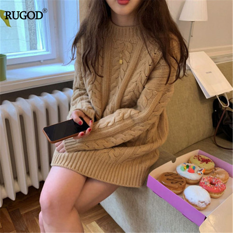 RUGOD 2019 Korea Autumn O-neck Hemp Pattern Solid Thick Sweater Casual Lady Cotton Loose Pullover Knitted Sweaters
