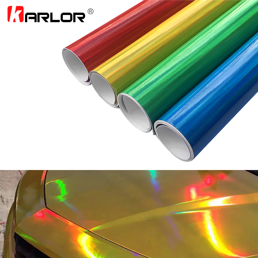 30cm*100cm Chrome Laser Car Sticker Holographic Wrap Rainbow Vinyl Film Laser Plating Color Change Auto Wrap Sheet Car styling(China)