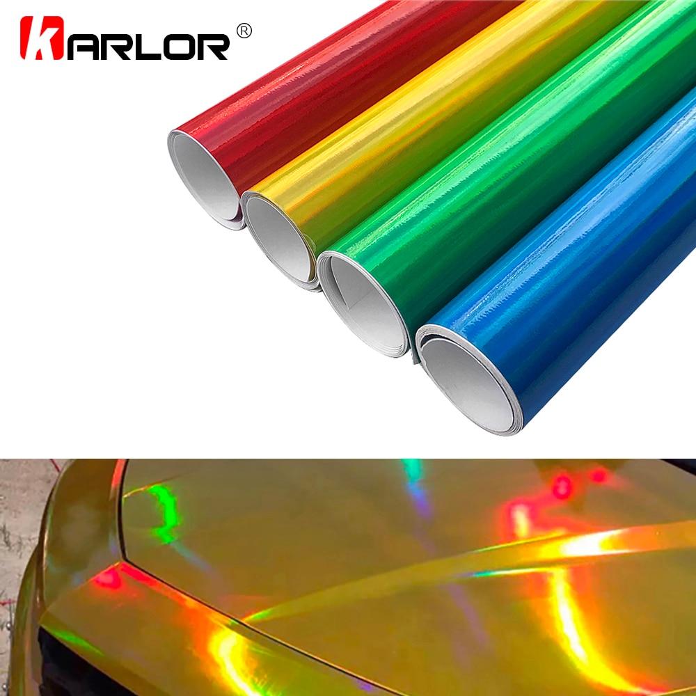 10cm*100cm Chrome Laser Car Sticker Holographic Wrap Rainbow Vinyl Film Laser Plating Color Change Auto Wrap Sheet Car Styling
