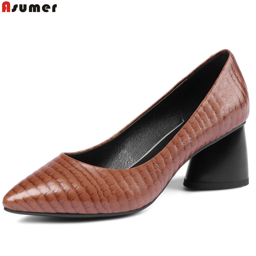 ASUMER black brown fashion spring autumn ladies pumps pointed toe shallow elegant women genuine leather high heels shoes women genuine leather slip on pointed toe lazy shoes sweet bow knot shallow party spring autumn women pumps black pink