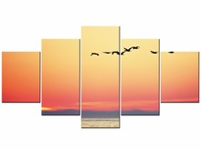5 Pieces Picture Seascape Sunset Canvas Art Prints Painting Sea Oil Wall Pictures Framed J009-026