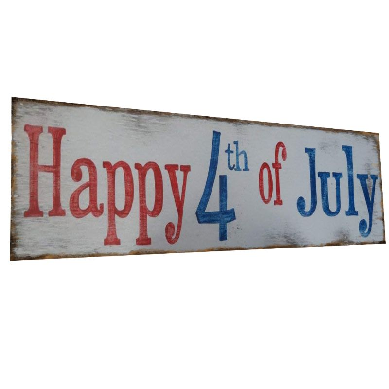 Image 4 - Rustic Wooden Happy 4th Of July Sign Plaque Independence Day Collection Gift Home Decoration-in Plaques & Signs from Home & Garden