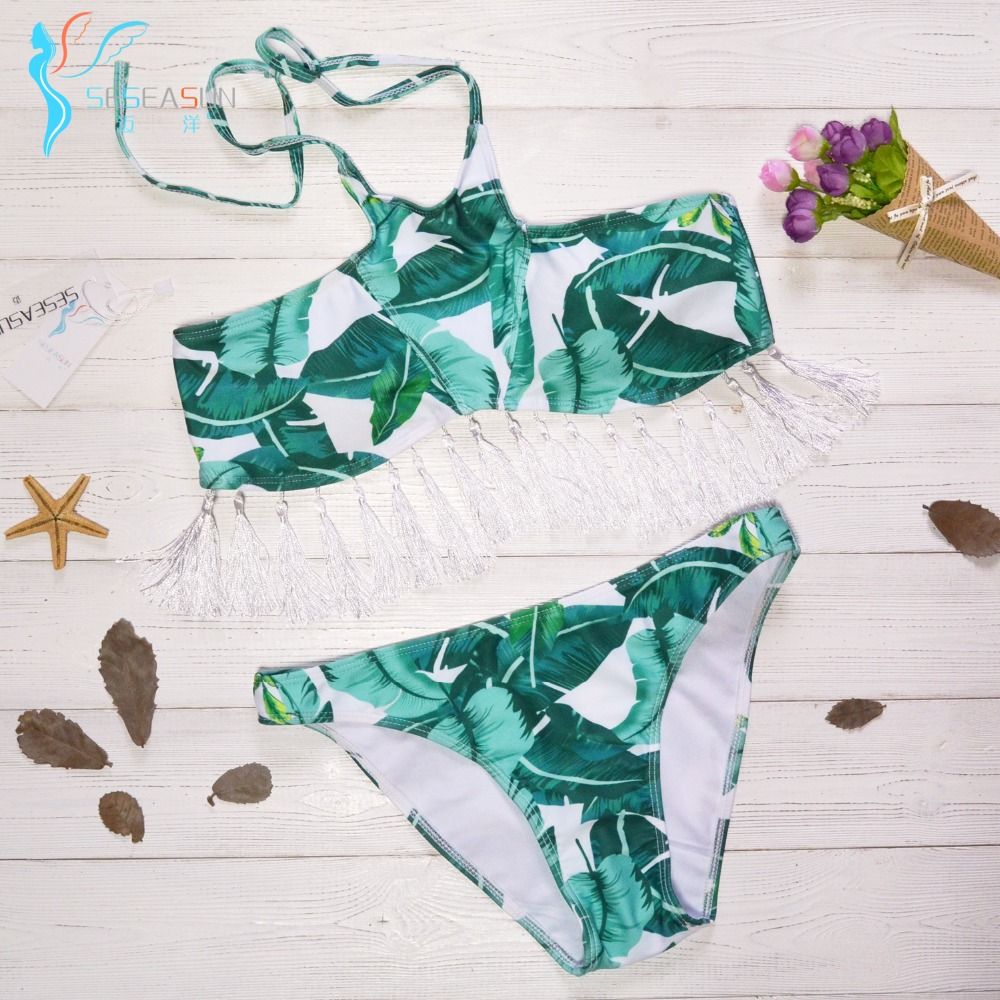 Seseasun 2017 Green Leaf Tassel Bikini Sexy Push Up Swimwear Retro New Design Swimsuit -5127