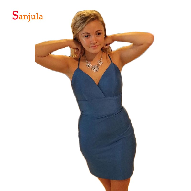 V Neck Sheath Cocktail Dresses Short Blue Satin Mini Sexy Night Party Dress For Girls Backless Graduation Gowns D1079