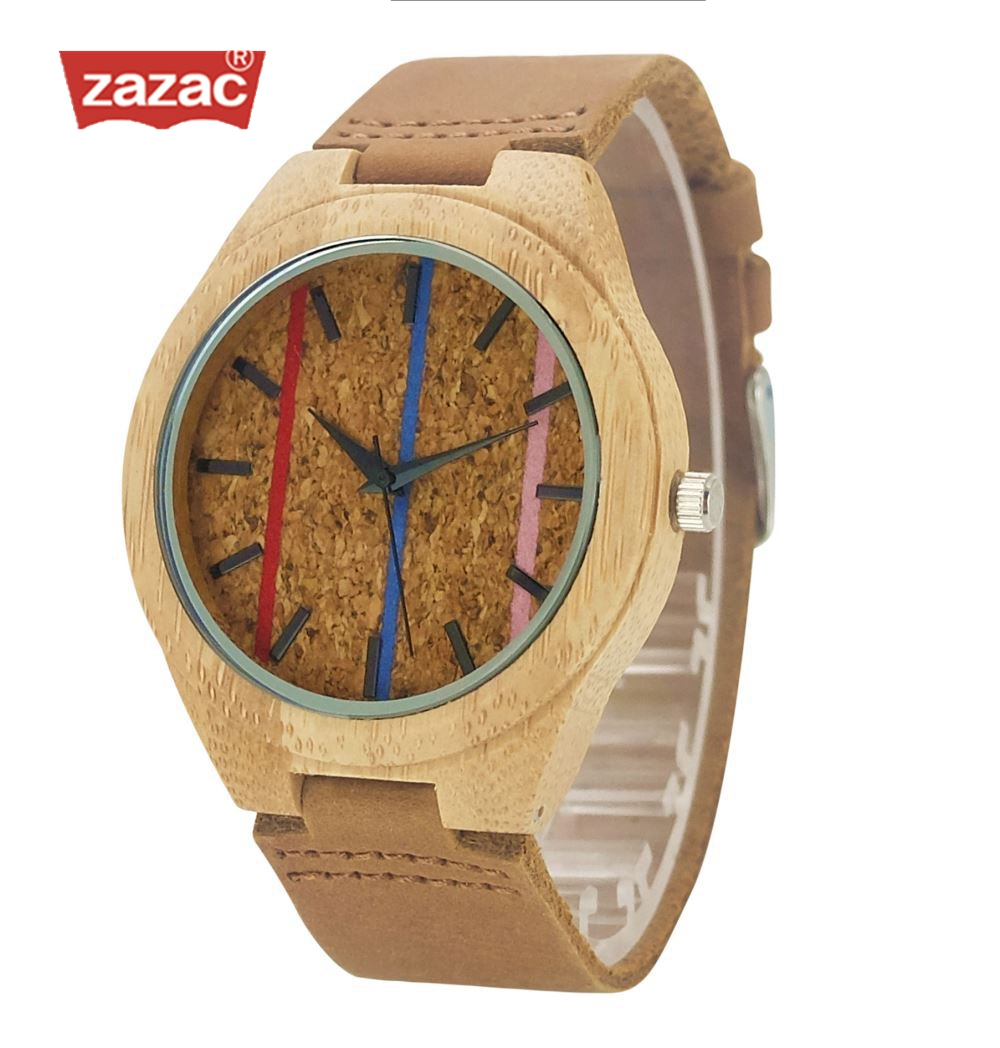 Zazac Natural Wood Simple Style Watch Men Genuine Leatehr Casual Bamboo Watch Handmade Wooden Quartz Wristwatch Women Gift natural hand made classic red wooden men quartz watch bracelet clase full wood band simple scale dial cool gift reloj masculino