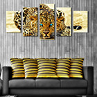 5 Plane Abstract Leopards Modern Home Decor Wall Art Canvas Animal Picture Print Painting Set of 5 Each Canvas Arts framed