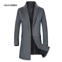 UHLRICHBWER 2017 Men's Large Size Winter Warm Long Woolen Coat Business Male Solid Color Wool Overcoat 3XL 1855