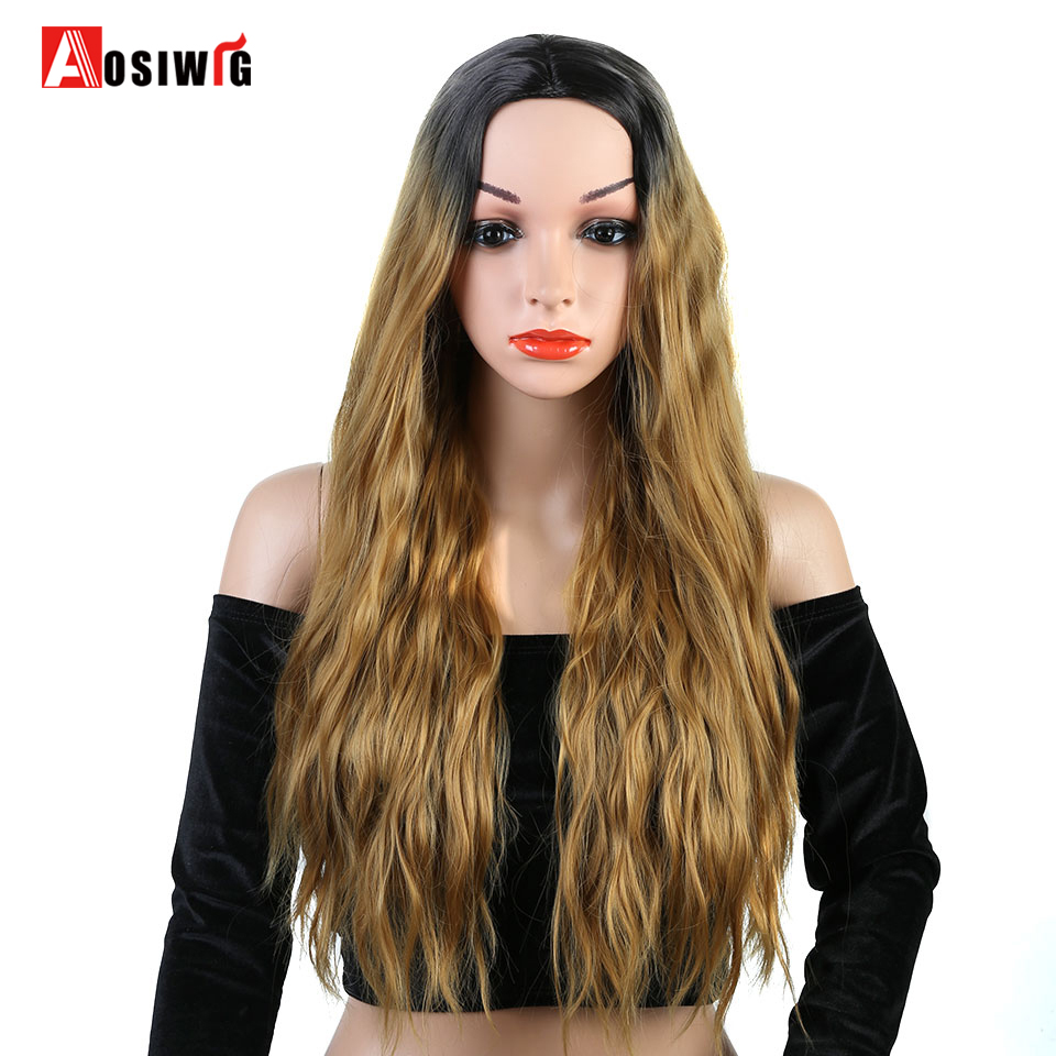 AOSIWIG Long Curly Wigs Ombre Hair for Women Heat Resistant Synthetic Hair Cosplay Wig