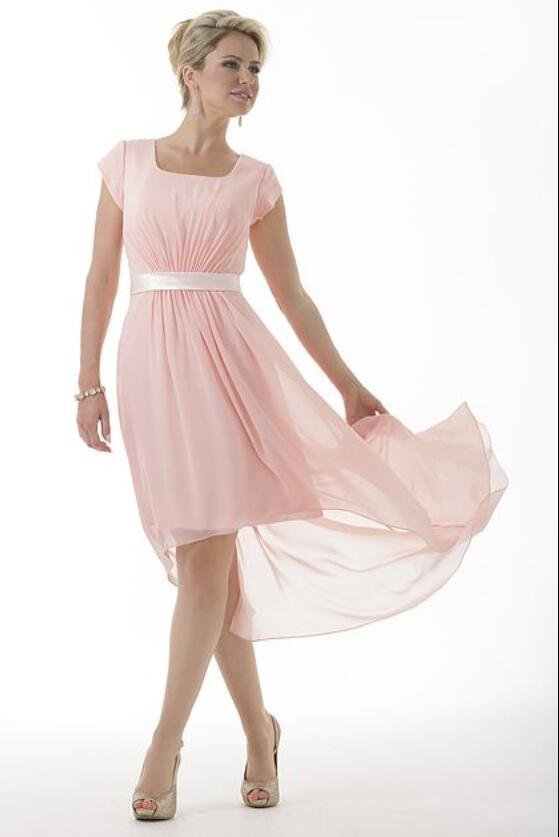 Cecelle 2016 Coral Short High Low Chiffon Modest Beach Bridesmaid Dresses Cap Sleeves Summer Wedding Party Guests Dresses