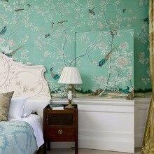 Винтажный Стиль Классический ручная роспись шелковые обои цветы с птицами обои много искусства и фон опционально