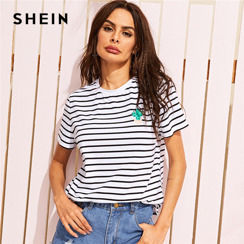 SHEIN Cactus Embroidered Striped Tee Women Clothing Summer T Shirt 2019 Casual Basic Black and White Short Sleeve Tops