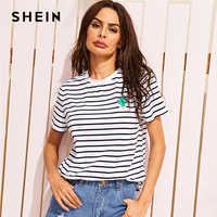 Shein cactus bordado listrado t roupas femininas verão t camisa 2019 casual básico preto e branco manga curta topos