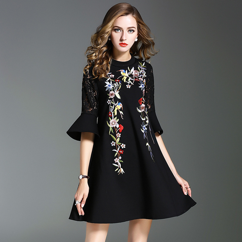European Style 2017 fall New High End Clothing Women's Flower Embroidery Flare Sleeve Black A line Dresses Elegant Fashion Dress