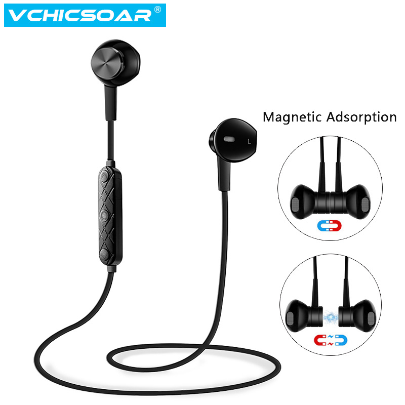 Vchicsoar i8 Bluetooth Earphone with Mic Headphones Sport Wireless Earphones Stereo Magnetic Headset Earbuds for Xiaomi Samsung 100% original bluetooth headset wireless headphones with mic for blackview bv6000 earbuds
