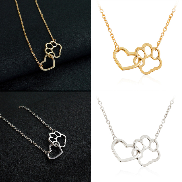 Hollow Pet Paw Footprint Necklaces Shellhard Cute Animal Dog Cat Love Heart Pendant Necklace For Women Girls Jewelry Necklace 1
