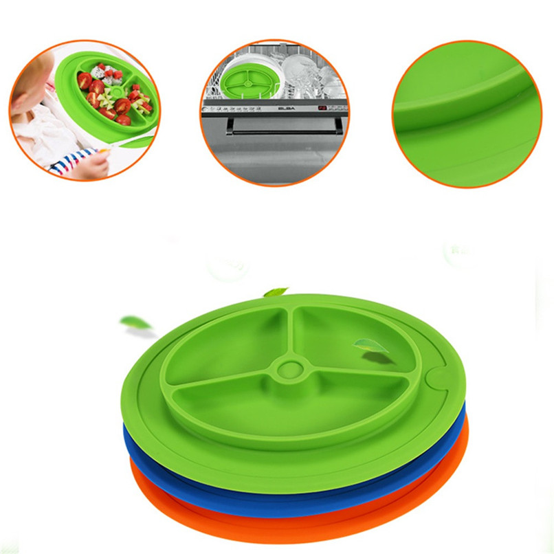 Kids One Piece Silicone Placemat Plate Dish Food Tray Table Mat for Baby Toddler Wholesale Free Shipping 30RH10#A10