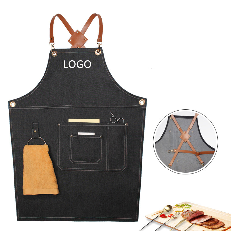 Denim Apron Adjustable Leather Unisex Hanging Neck Kitchen Cooking Apron Cafe Bakery Shop Barber Shop Bar Waiter Work Pinafore