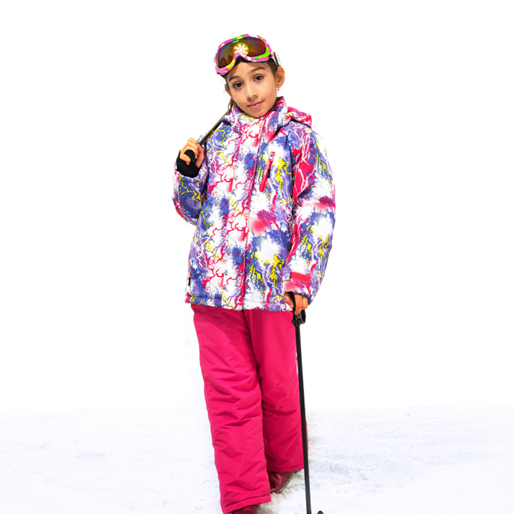 2017 Winter Warm Girl Ski Jacket+Pants Girls Skiing Set Outdoor Windproof Waterproof Snowboard Children Fleece Outerwear Coat женские чулки no womens stockings