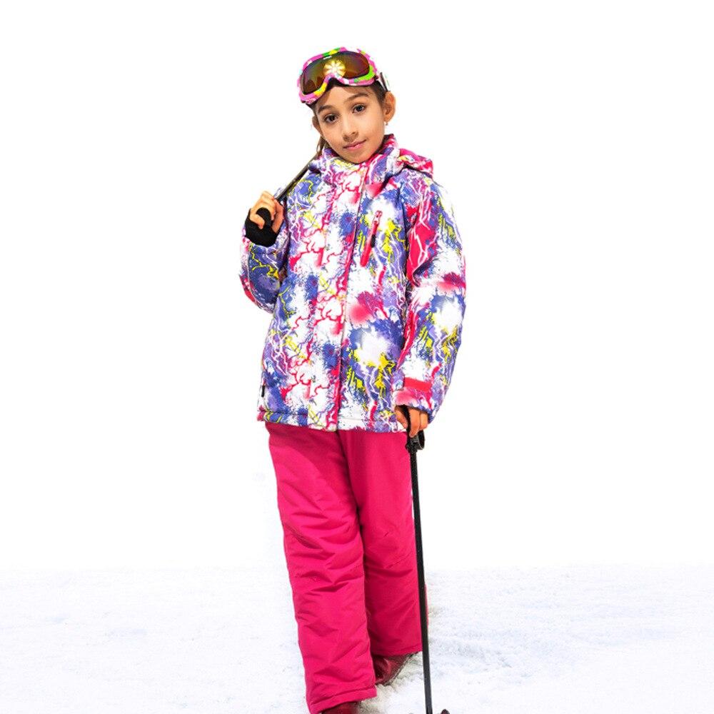 Enfants hiver chaud fille Ski veste + pantalon filles Ski ensemble extérieur coupe-vent imperméable Snowboard enfants vêtement d'extérieur en polaire manteau