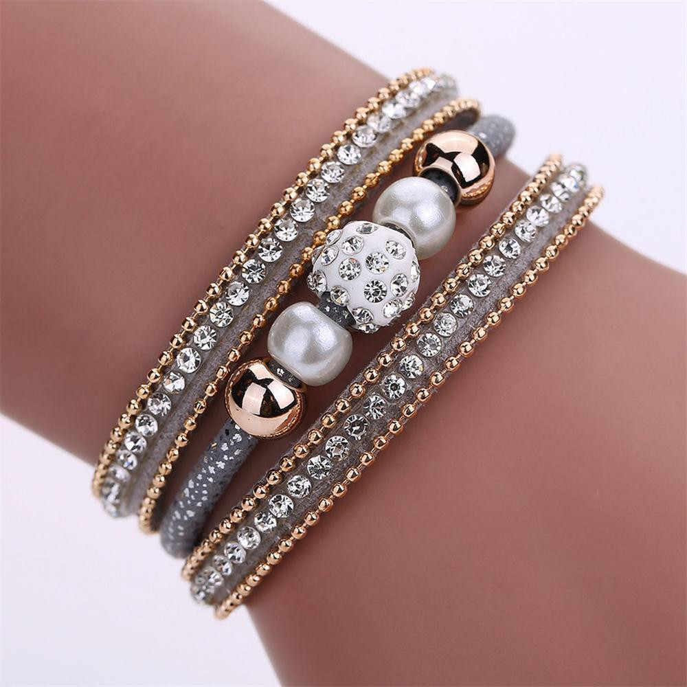 bracelet femme 2018 Women Multilayer Bangle Bracelet Crystal Beaded Leather Magnetic Wristband  pulseira feminina
