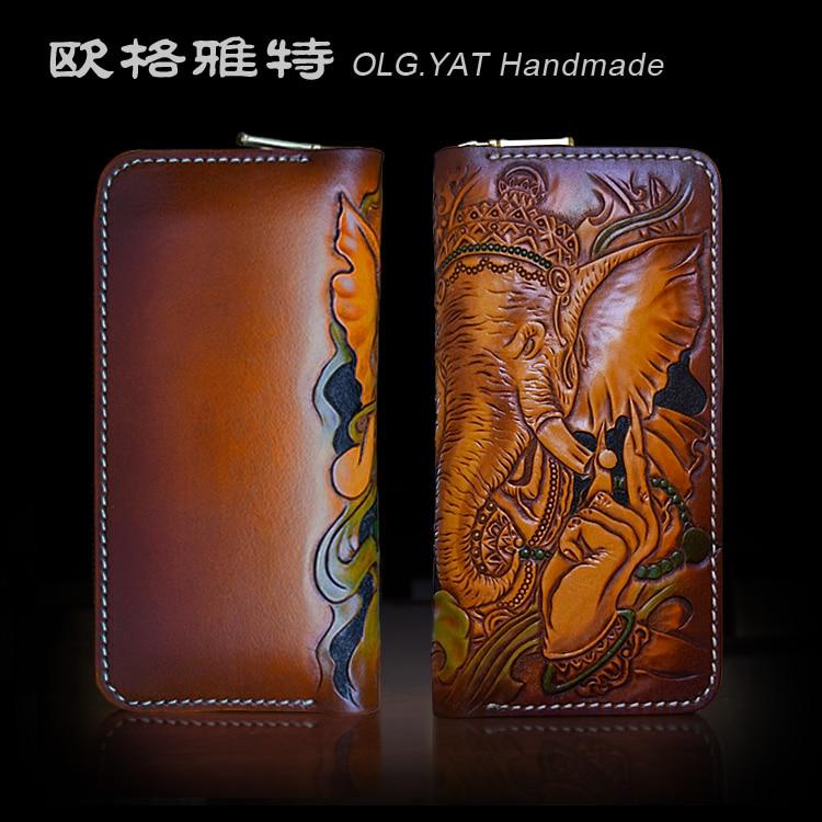 OLG YAT handmade wallet men purse Pouches leather men wallets women bag Cowhide Hand carved Pouches