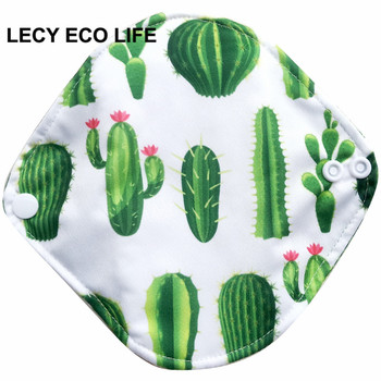 LECY ECO LIFE 1pc women reusable cloth menstrual pads with wings, organic bamboo inner mama pads pantyliner for light flow days image