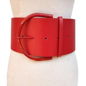 Image 2 - Cinturón de piel con hebilla redonda para mujer, con hebilla redonda Cinturón de piel, estilo clásico, 2018