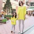Ropa de las muchachas establece juego de ropa de la familia de madre e hija ropa a juego de La Camiseta + polka dot pantalones trajes a juego de la familia