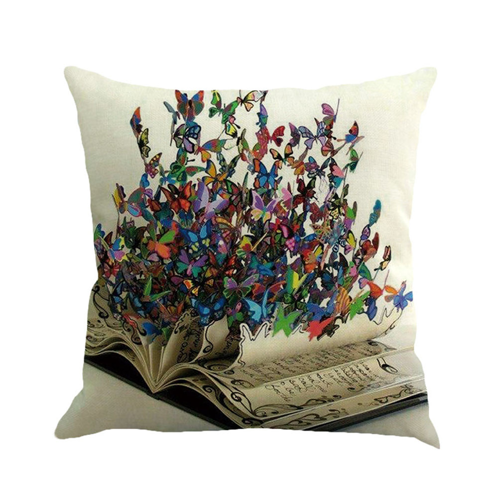 Butterfly Printed Square Shaped Cushion Cover