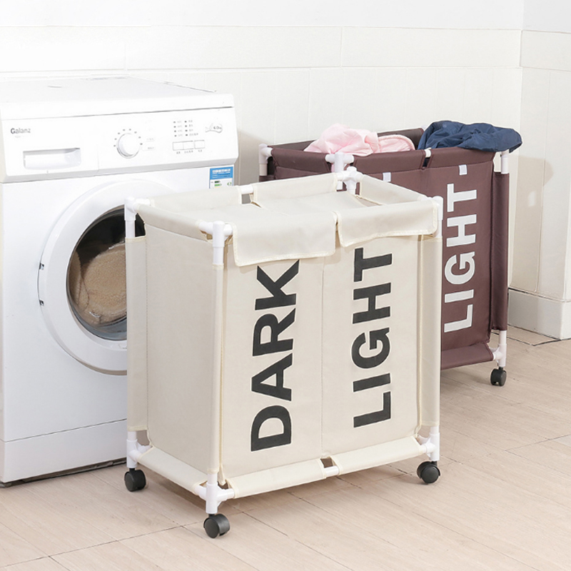 Laundry-Basket Hamper Cloth Dirty with Waterproof Lid 2-Grid Detachable