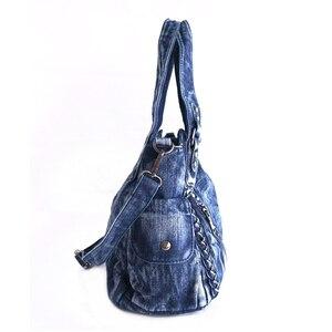 Image 2 - iPinee Brand Women Bag 2020 Fashion Denim Handbags Female Jeans Shoulder Bags Weave Design Women Tote Bag