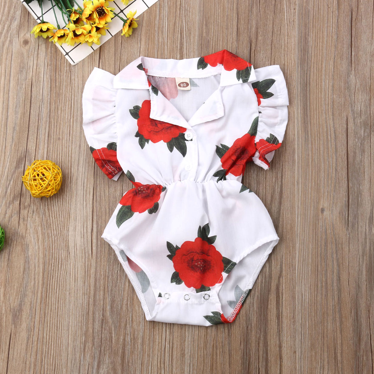 Pudcoco Summer Newborn Baby Girl Clothes Rose Print Ruffle Romper Jumpsuit One-Piece Outfit Sunsuit Clothes