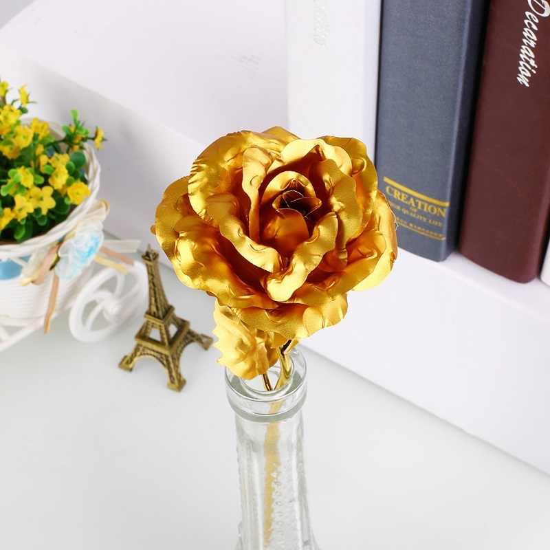24K złota folia kwiat róży bez pudełka walentynki kochanka prezent urodziny romantyczna złota róża wystrój domu świąteczne zaopatrzenie firm