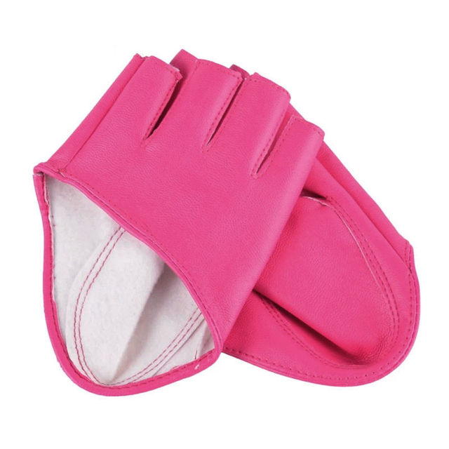 Fashion Half Finger Fingerless PU Leather Gloves Ladys Driving Show Pole Dance  Mittens for Women Men Free Shipping 4