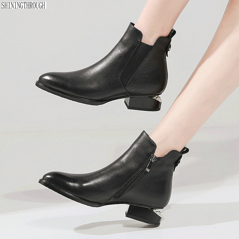 Fashion women boots round toe zip genuine leather boots low heels classic ankle boots ladies black shoes large size 42 big size 34 42 high quality genuine leather leisure low heels ankle boots fashion cowhide round toe platform women boots