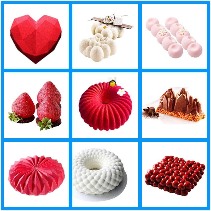 SHENHONG Pop Kuchen Dekorieren Form 3D Silikon Formen Für Backen Herz Runde Kuchen Brownie Mousse Machen Dessert Pan Schokolade Werkzeuge