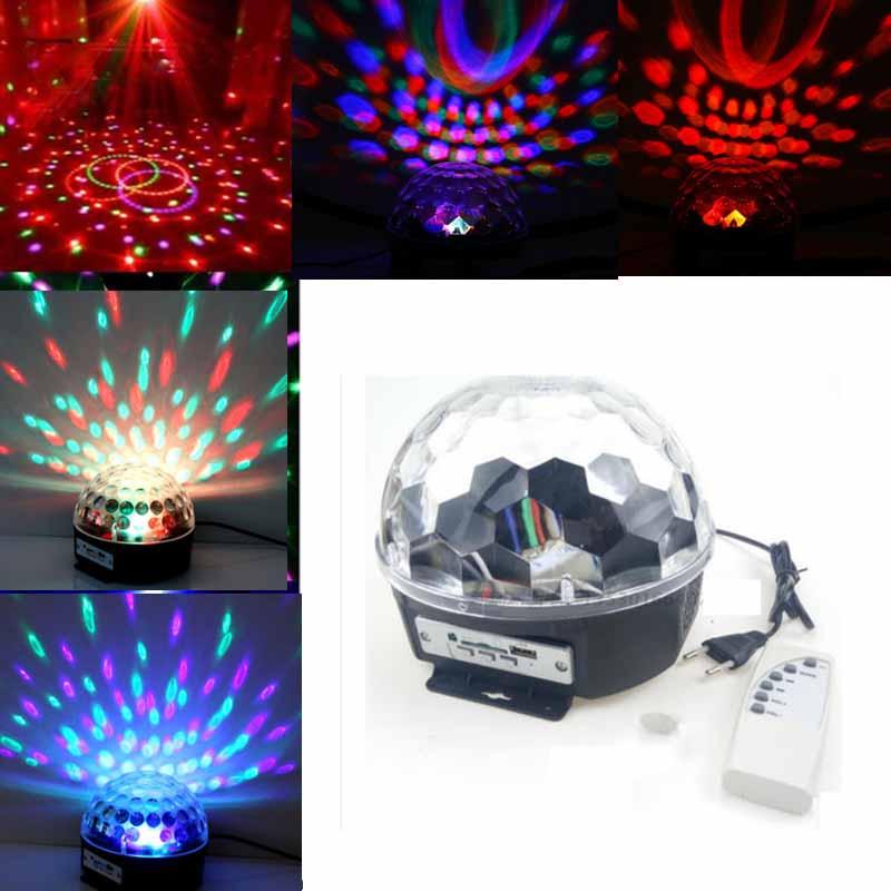IR Remote Digital RGB LED Crystal Magic Ball Mini Disco DJ Laser Stage Light MP3 mini rgb led party disco club dj light crystal magic ball effect stage lighting