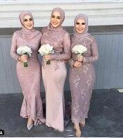 2019 новейший мусульманский Арабская Высокая шея с длинным рукавом подружки невесты Платья длинное, до лодыжки аппликация кружева пыльный ро