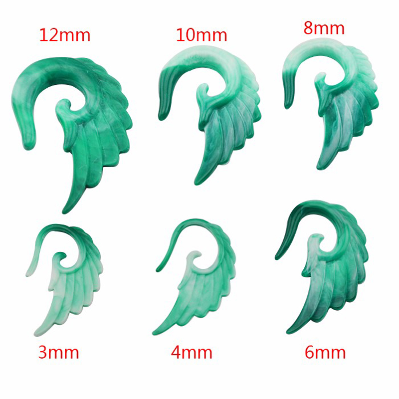 1 Pair Angel Wings Ear Sprial Hook Ear Plugs Ear Expander Hot Sale Body Piercing Jewelry