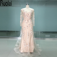 Real sample custom made champagne tulle red beading sequined long sleeves evening dresses formal dress for.jpg 200x200