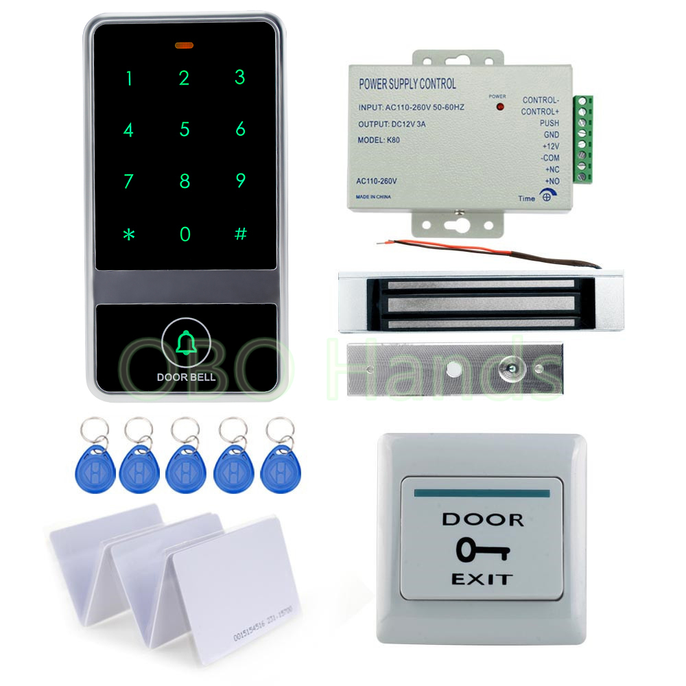 DIY Full rfid door access control system kit set metal waterproof controller keypad with 180KG magnetic lock+power supply+switch lpsecurity 125khz id em or 13 56mhz rfid metal door lock access controller with digital backlit keypad ip65 waterproof