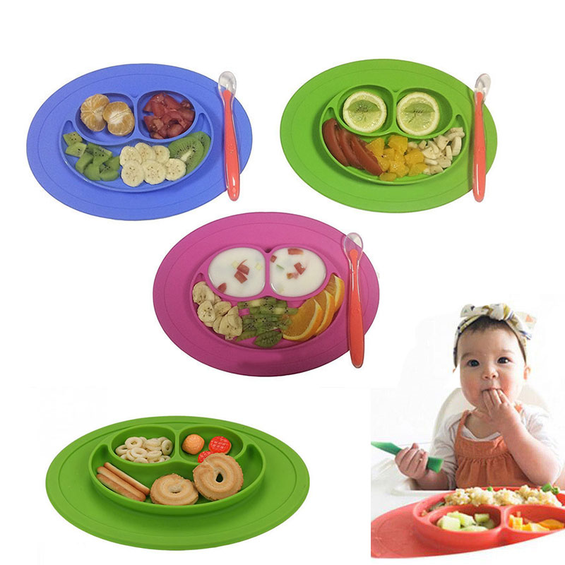 silicone-material-baby-dining-plate-health-lovely-smile-face-lunch-tableware-kitchen-fruit-dishes-children-bowl