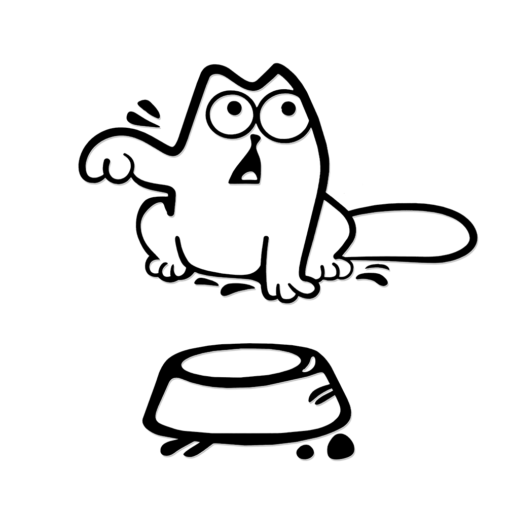Car Sticker Hungry Simon's Cat Bowl JDM Decal Funny Gas Fuel Tank Cap Cover Vinyl Car Sticker for Car Truck SUV Window Bumper no airbags we die like real men bumper stickers funny vinyl decal for truck windows black silver white yellow red
