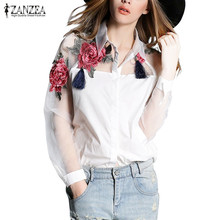 ZANZEA Blusas Femininas 2017 Summer Elegant Women Blouse Flower Embroidery Vintage Shirts Blouses Organza Sleeve Tops Plus Size