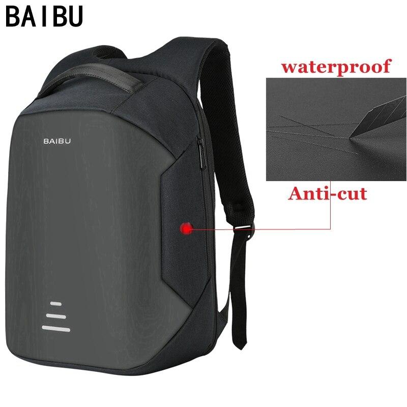 BAIBU nueva mochila para ordenador portátil de 15,6 pulgadas, para hombre, mochila antirrobo, mochila escolar para libretas, para mujer, con carga USB, mochila Oxford de viaje a prueba de agua