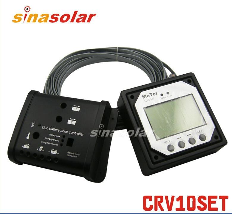 Dual 10A 12V/24V Solar Charge Controller/Regulator For Caravan nv q4500w 20a intelligent dual solar power transfer controller regulador solar dual for 12v 24v solar power system 110v 220 240v