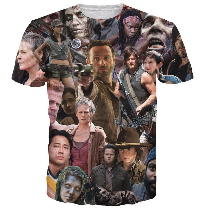 Hip Hop Women/Mens t shirt The Walking Dead Paparazzi Short Sleeves 3D Print T-Shirt Summer Clothes Tops Tees Plus S-5XL R1340