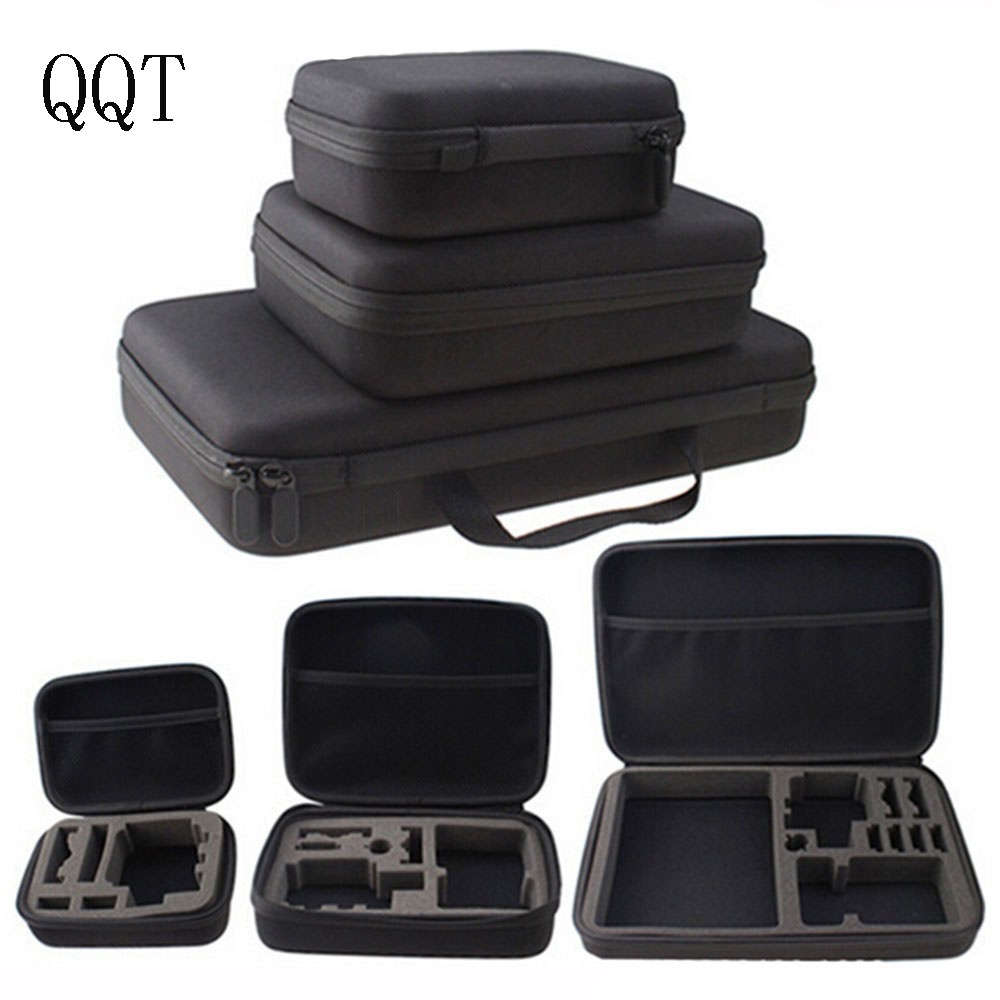 QQT for Gopro Portable Carry Case Small Medium Large Size Accessories Anti-shock Housing for Go pro Hero 5 4 3+ Sj4000 Xiaomi Yi fat cat 13 dual cam anti shock waterproof eva case for gopro hero 4 3 3 2 sj4000 carbon black